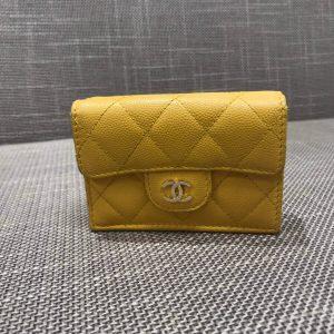 マトラッセ 三つ折り財布 イエロー キャビアスキン GD金具 A84401