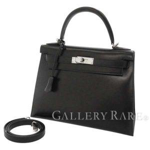 ケリー28 外縫い ブラック×シルバー金具 ボックスカーフ M刻印