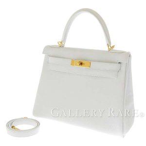 ケリー28 内縫い ホワイト×ゴールド金具 トリヨンクレマンス D刻印