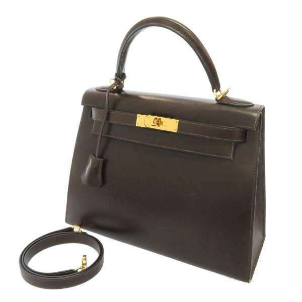 ケリー28 外縫い ショコラ/ゴールド金具 ボックスカーフ L刻印 2way