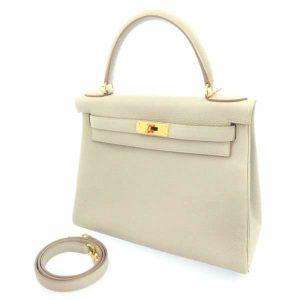 ケリー28 内縫い パールグレー/ゴールド金具 トゴ X刻印 2wayバッグ