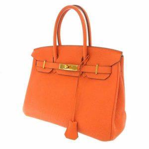 エルメス バーキン30 オレンジ/ゴールド金具 トゴ ハンドバッグ
